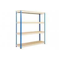 Rapid 1 Heavy Duty Shelving With 4 Chipboard Shelves 1830wx2440h (Blue/Grey)