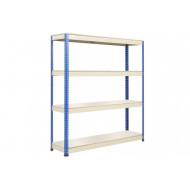 Rapid 1 Heavy Duty Shelving With 4 Melamine Shelves 1830wx2440h (Blue/Grey)