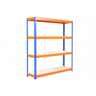 Rapid 1 Heavy Duty Shelving With 4 Melamine Shelves 1830wx2440h (Blue/Orange)