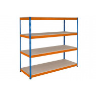 Rapid 1 Heavy Duty Shelving With 4 Chipboard Shelves 2134wx2440h (Blue/Orange)