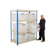 Rapid 1 Shelving With 6 x 145 Litre Really Useful Boxes 1525wx1980h
