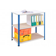 Rapid 2 Shelving With 3 Chipboard Shelves 915wx840h (Blue/Grey)