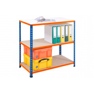 Rapid 2 Shelving With 3 Chipboard Shelves 915wx840h (Blue/Orange)