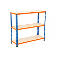 Rapid 2 Shelving With 3 Chipboard Shelves 915wx915h (Blue/Orange)