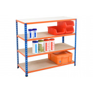 Rapid 2 Shelving With 4 Chipboard Shelves 1220wx990h (Blue/Orange)