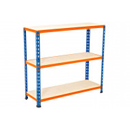 Rapid 2 Shelving With 3 Chipboard Shelves 915wx990h (Blue/Orange)