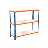 Rapid 2 Shelving With 3 Melamine Shelves 915Wx990H (Blue/Orange)