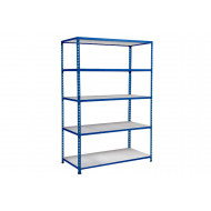 Rapid 2 Shelving With 5 Galvanized Shelves 1220wx1600h (Blue)