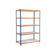 Rapid 2 Shelving With 5 Galvanized Shelves 1220wx1600h (Blue/Orange)