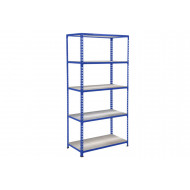 Rapid 2 Shelving With 5 Galvanized Shelves 915wx1600h (Blue)