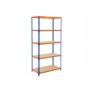 Rapid 2 Shelving With 5 Chipboard Shelves 915wx1600h (Blue/Orange)
