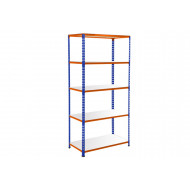 Rapid 2 Shelving With 5 Galvanized Shelves 915Wx1600H (Blue/Orange)