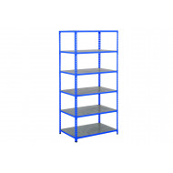 Rapid 2 Shelving With 6 Galvanized Shelves 915wx1600h (Blue)