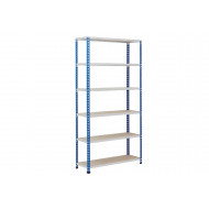 Rapid 2 Shelving With 6 Chipboard Shelves 915wx1600h (Blue/Grey)