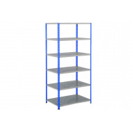 Rapid 2 Shelving With 6 Galvanized Shelves 915wx1600h (Blue/Grey)