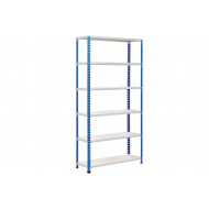 Rapid 2 Shelving With 6 Melamine Shelves 915wx1600h (Blue/Grey)