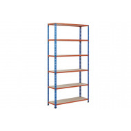 Rapid 2 Shelving With 6 Chipboard Shelves 915wx1600h (Blue/Orange)