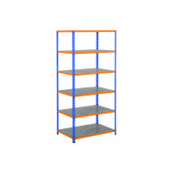 Rapid 2 Shelving With 6 Galvanized Shelves 915wx1600h (Blue/Orange)