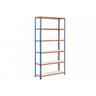 Rapid 2 Shelving With 6 Melamine Shelves 915wx1600h (Blue/Orange)