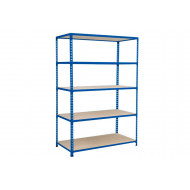 Rapid 2 Shelving With 5 Chipboard Shelves 1220wx1600h (Blue)