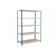 Rapid 2 Shelving With 5 Chipboard Shelves 1220wx1600h (Blue/Grey)