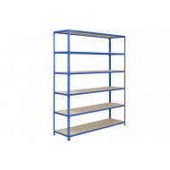 Rapid 2 Shelving With 6 Chipboard Shelves 1220Wx1600H (Blue)