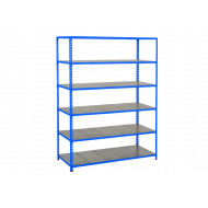 Rapid 2 Shelving With 6 Galvanized Shelves 1220wx1600h (Blue)