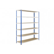 Rapid 2 Shelving With 6 Chipboard Shelves 1220wx1600h (Blue/Grey)