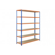 Rapid 2 Shelving With 6 Chipboard Shelves 1220wx1600h (Blue/Orange)