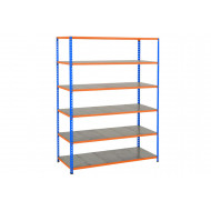 Rapid 2 Shelving With 6 Galvanized Shelves 1220wx1600h (Blue/Orange)