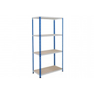 Rapid 2 Shelving With 4 Chipboard Shelves 1220wx1600h (Blue/Grey)