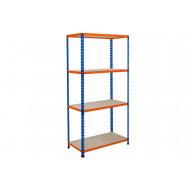 Rapid 2 Shelving With 4 Chipboard Shelves 1220wx1600h (Blue/Orange)