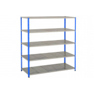 Rapid 2 Shelving With 5 Galvanized Shelves 1525wx1600h (Blue/Grey)