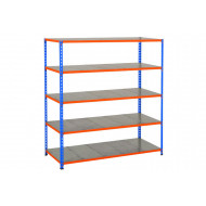 Rapid 2 Shelving With 5 Galvanized Shelves 1525wx1600h (Blue/Orange)
