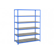 Rapid 2 Shelving With 6 Galvanized Shelves 1525wx1600h (Blue)