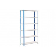 Rapid 2 Shelving With 6 Chipboard Shelves 1525wx1600h (Blue/Grey)