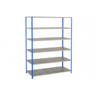 Rapid 2 Shelving With 6 Galvanized Shelves 1525wx1600h (Blue/Grey)