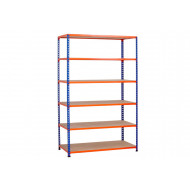 Rapid 2 Shelving With 6 Chipboard Shelves 1525wx1600h (Blue/Orange)