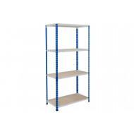 Rapid 2 Shelving With 4 Chipboard Shelves 1525wx1600h (Blue/Grey)