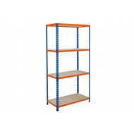 Rapid 2 Shelving With 4 Chipboard Shelves 1525wx1600h (Blue/Orange)