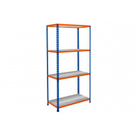 Rapid 2 Shelving With 4 Galvanized Shelves 1525wx1600h (Blue/Orange)