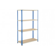 Rapid 2 Shelving With 4 Chipboard Shelves 915wx1980h (Blue/Grey)