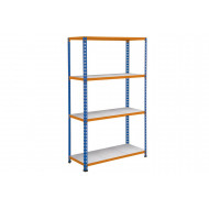 Rapid 2 Shelving With 4 Galvanized Shelves 915wx1980h (Blue/Orange)