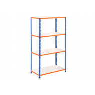 Rapid 2 Shelving With 4 Melamine Shelves 915wx1980h (Blue/Orange)