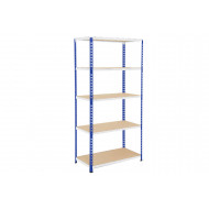 Rapid 2 Shelving With 5 Chipboard Shelves 915wx1980h (Blue/Grey)