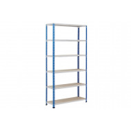 Rapid 2 Shelving With 6 Chipboard Shelves 915wx1980h (Blue/Grey)