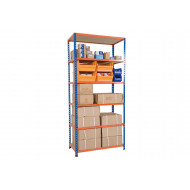 Rapid 2 Shelving With 6 Chipboard Shelves 915wx1980h (Blue/Orange)