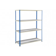Rapid 2 Shelving With 4 Galvanized Shelves 1220Wx1980H (Blue/Grey)