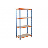 Rapid 2 Shelving With 4 Chipboard Shelves 1220wx1980h (Blue/Orange)