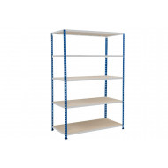 Rapid 2 Shelving With 5 Chipboard Shelves 1220wx1980h (Blue/Grey)